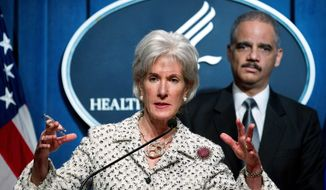 Health and Human Services Secretary Kathleen Sebelius said that self-insuring religious employers will be exempted from a contraception coverage mandate. Attorney General Eric H. Holder Jr. joined her Tuesday for the release of a health care fraud and abuse control program report. (Associated Press)