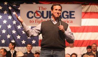 TRAILING: Rick Santorum has won four states but just three delegates so far. Mitt Romney also has won four states but has 73 delegates. He is waging a strong effort to beat Mr. Santorum in Michigan. (Associated Press)