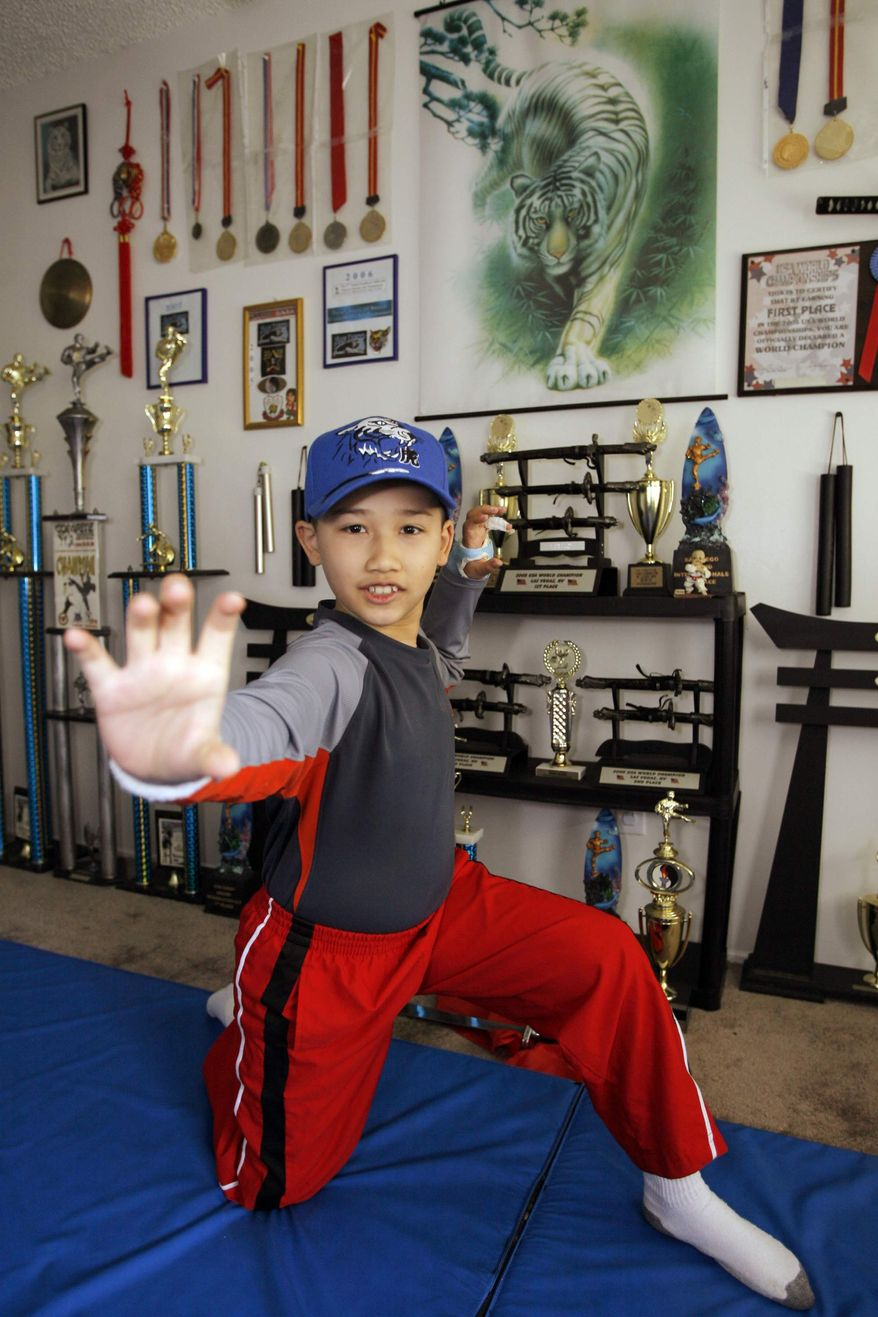 ** FILE ** In this May 2, 2008, file photo, Moshe Kai Cavalin, 10, strikes a martial arts position at his home studio in Downey, Calif. At age 11, Cavalin became the youngest person ever to earn an Associate in Arts degree from East Los Angeles College and now, at 14, is poised to graduate with honors from UCLA later this year. (AP Photo/Damian Dovarganes, File)