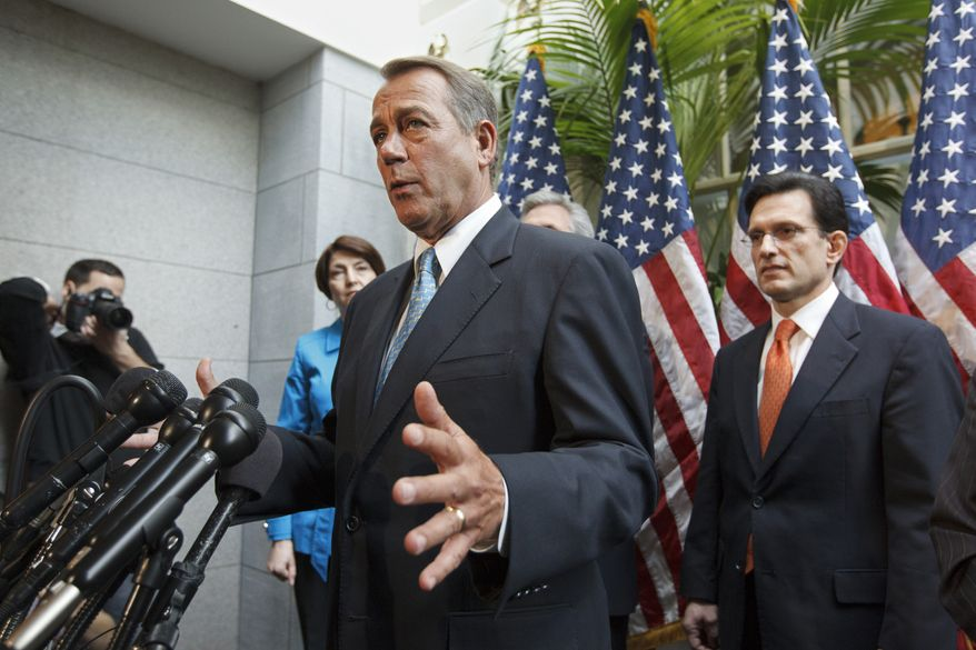 House Speaker John A. Boehner, Ohio Republican, accompanied by fellow GOP leaders, talks on Feb. 15, 2012, about an accord on the payroll tax cut negotiations during a news conference on Capitol Hill. From left are Rep. Cathy McMorris Rodgers of Washington, Mr. Boehner, House Majority Whip Kevin McCarthy of California and House Majority Leader Eric Cantor of Virginia. (Associated Press)