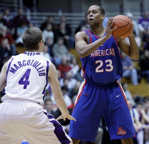 American University senior Charles Hinkle is averaging 19.2 points and 5.5 rebounds per game this season. He's the Patriot League's second-leading scorer. (American University Athletics)