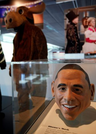 "In this photo taken Monday, Feb. 13, 2012, a mask of Barack Obama, worn by then candidate Obama on ""Saturday Night Live,"" is part of the exhibit, ""Every Four Years: Presidential Campaigns and the Press,"" at the Newseum in Washington. (AP Photo/Jacquelyn Martin)"