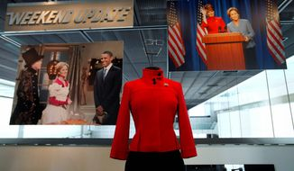 """Tina Fey's costume to portray Sarah Palin on """"Saturday Night Live,"""" is part of the exhibit, """"Every Four Years: Presidential Campaigns and the Press,"""" at the Newseum in Washington. (AP Photo/Jacquelyn Martin)"""