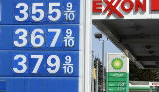 **FILE** This photo from Feb, 13, 2012, shows gas prices at Exxon and BP Mini-mart in Scott Township, Pa. (Associated Press)