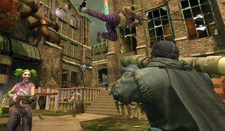 Vigilante admirers of Batman fight wanna be villains aligned with Joker in the video game Gotham City Impostors.