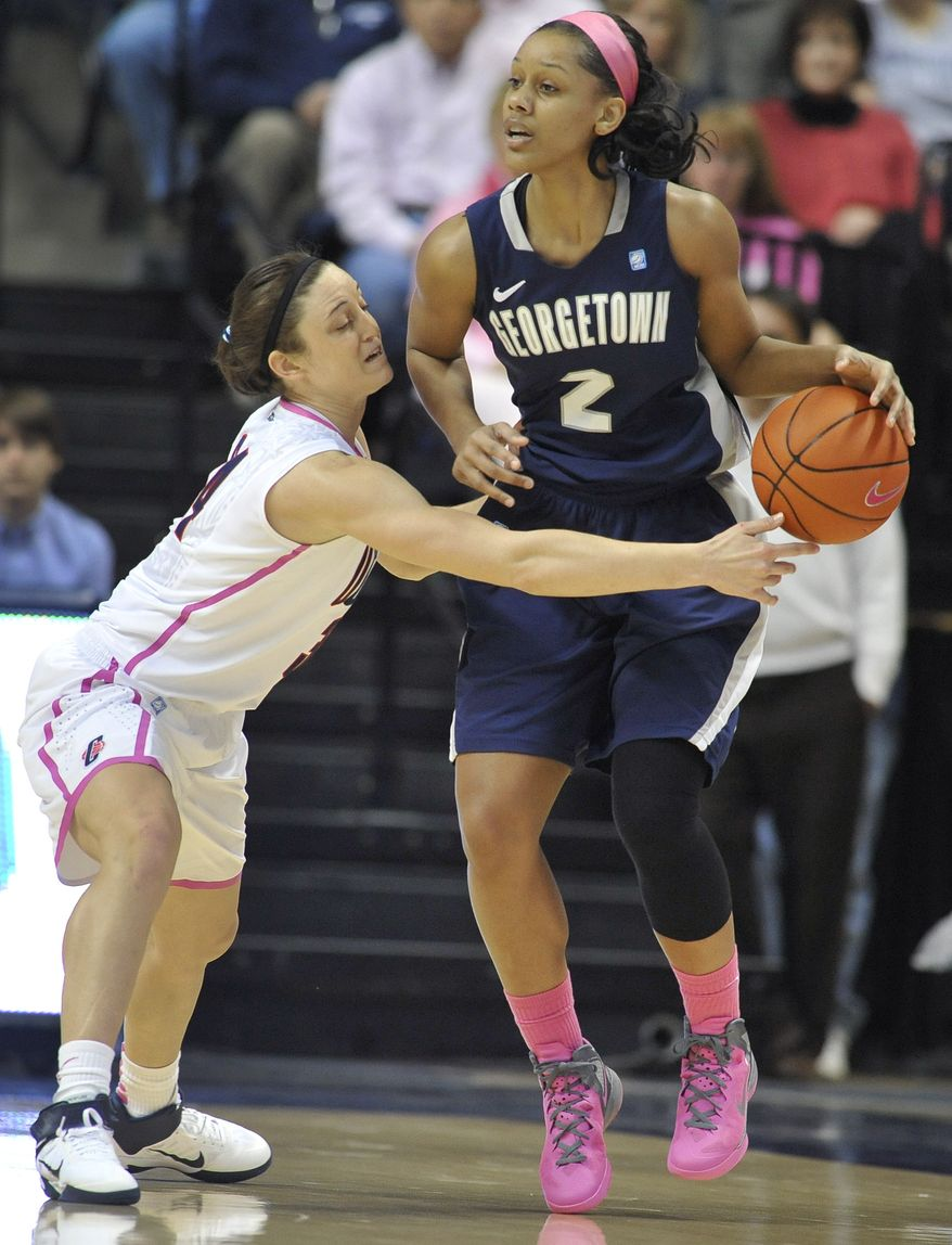 Tia Magee (shown in a game versus Connecticut) had a game-high 17 points in No. 15 Georgetown's 66-39 win over Providence on Saturday. (AP Photo/Jessica Hill)