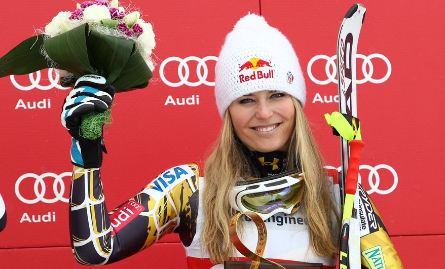 Lindsey Vonn, of the United States, finished third in the women's World Cup downhill on the Sochi Olympics course, in Krasnaya Polyana, near Sochi, Russia, Saturday, Feb.18, 2012. Vonn clinched her fifth consecutive World Cup downhill title Saturday, although German rival and friend Maria Hoefl-Riesch won the race on the 2014 Sochi Olympics course. (AP Photo/Alessandro Trovati)