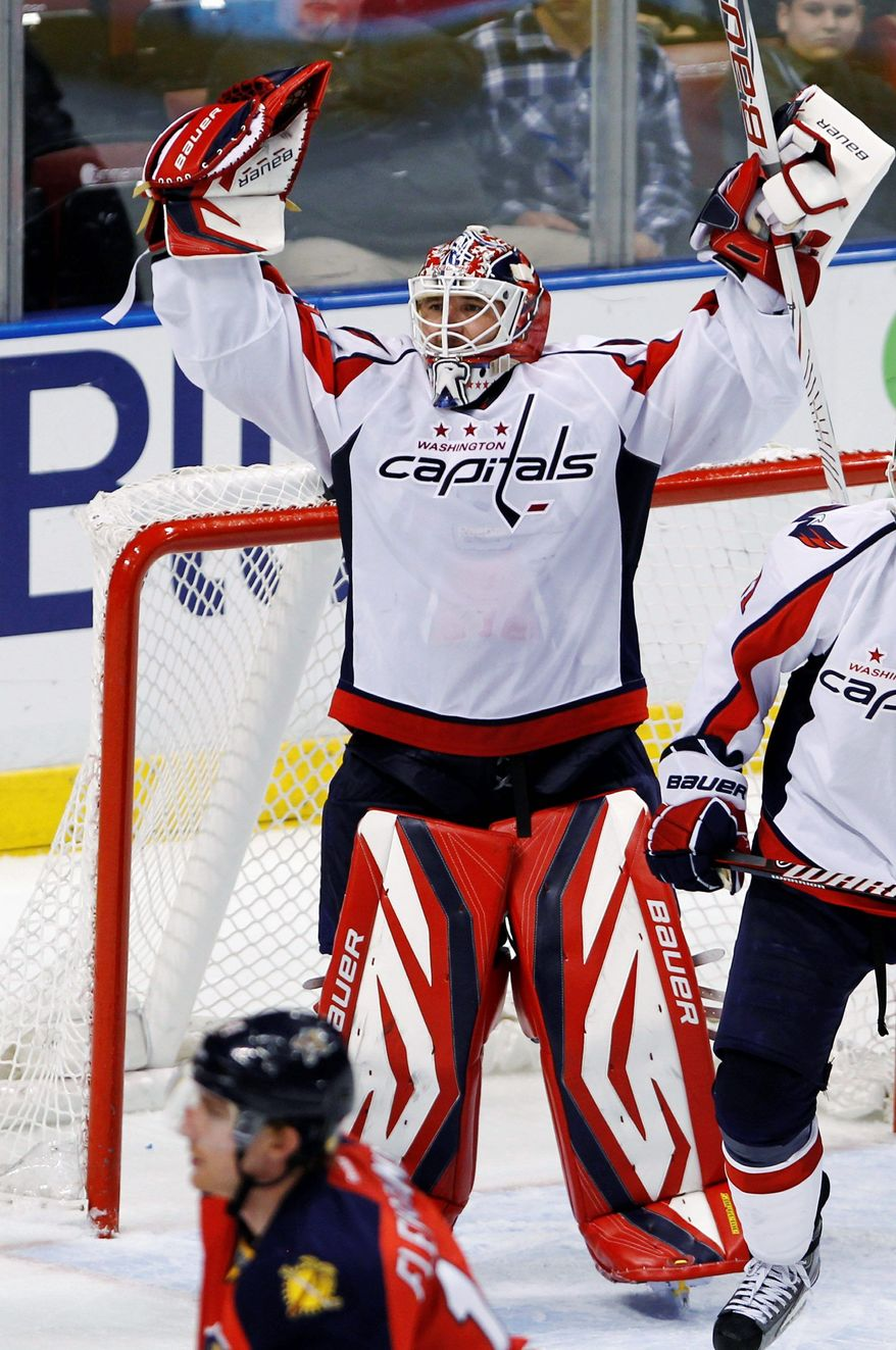 Capitals goalie Tomas Vokoun was feeling fine after a 2-1 win over the Florida Panthers on Friday night. (Associated Press)