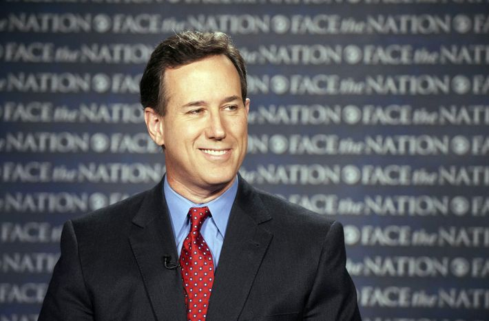 "Republican presidential candidate Rick Santorum appears on CBS' ""Face the Nation"" on Sunday, Feb. 19, 2012. (AP Photo/CBS News, Chris Usher)"