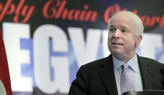 Sen. John McCain of Arizona, the top Republican on the Senate Armed Services Committee, talks Feb. 20, 2012, at the American Chamber of Commerce in Cairo. (Associated Press)