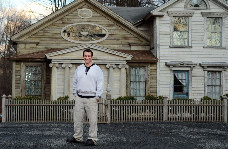 "Bronson Pinchot shows off Decker House, one of six properties he owns in Harford, Pa., earlier this month. Mr. Pinchot, best known for his starring role on the 1980s sitcom ""Perfect Strangers,"" is back on TV with a new show about restoring his historic Pennsylvania homes. The show, ""The Bronson Pinchot Project,"" premiered this month on the DIY cable network. (Associated Press)"