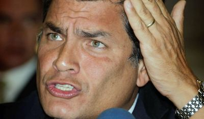 Ecuadorean President Rafael Correa said Latin America should adopt sanctions against Great Britain. (Associated Press)
