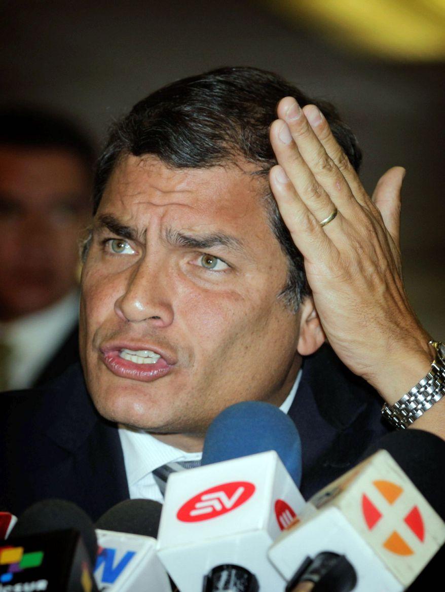 Ecuadorean President Rafael Correa said Latin America should adopt sanctions against Great Britain. (Associated Press)