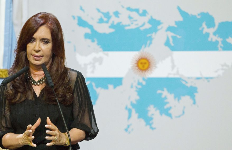 President Cristina Fernandez of Argentina says that Great Britain is trying to militarize the Falklands Islands, which both nations claim. The dispute over the islands, 300 miles offshore from Argentina, prompted a brief war between the two nations in 1982. (Associated Press)