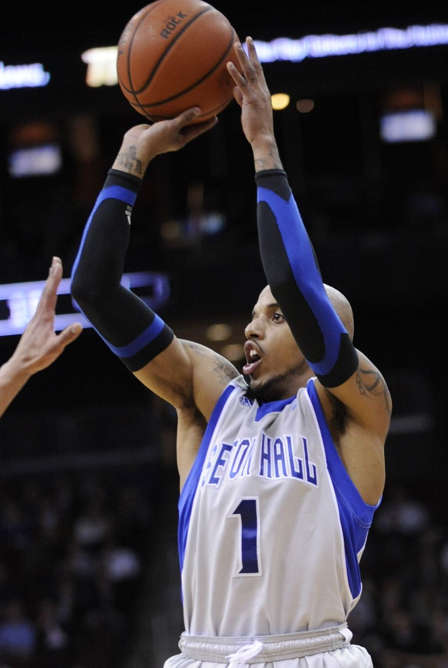 Seton Hall's Jordan Theodore led all scorers with 29 points as Seton Hall defeated Georgetown 73-55 on Tuesday night at Prudential Center in Newark, N.J. (AP Photo/Bill Kostroun)