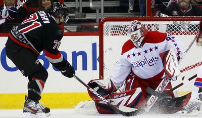 Carolina Hurricanes' Jerome Samson (71) has his shot blocked by Washington Capitals goalie Tomas Vokoun (29), of the Czech Republic, during the first period of an NHL hockey game in Raleigh, N.C., Monday, Feb. 20, 2012. (AP Photo/Karl B DeBlaker)