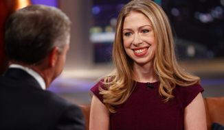 "** FILE ** NBC's Brian Williams, host of ""Rock Center with Brian Williams,"" interviews Chelsea Clinton, daughter of former President Bill Clinton and former Secretary of State Hillary Clinton, on Dec. 12, 2012, in New York. (Associated Press)"