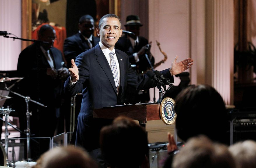 President Obama welcomes guests during a salute to blues music Tuesday in the East Room of the White House. The star-studded event featured Mick Jagger and B.B. King, among others, and was taped for broadcast Monday night on PBS. (Associated Press)