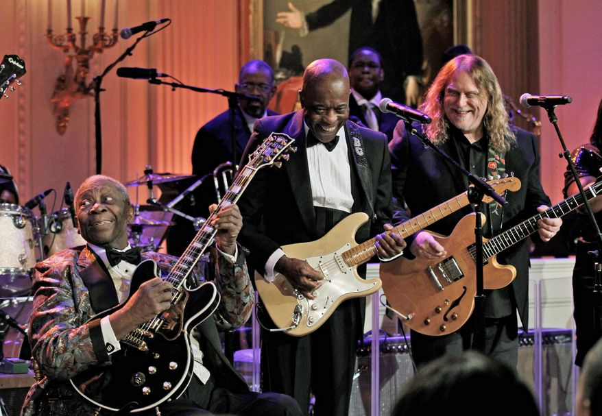 From left, B.B. King, Buddy Guy and Warren Haynes were among those who performed Tuesday at the White House. President Obama got a few blues notes in as well. (Associated Press)