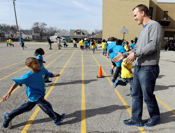 Colts quarterback Peyton Manning has been a civic icon as well as a four-time NFL MVP. His charitable deeds range from hospital projects to working with students during Super Bowl festivities in Indianapolis. Yet the Hall of Famer-in-waiting may have played his last game at Lucas Oil Stadium. (Associated Press)