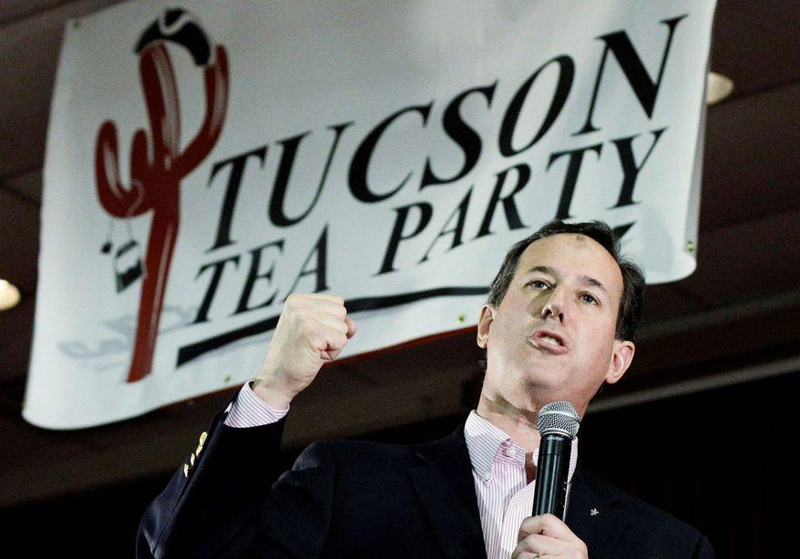 Republican presidential candidate and former Pennsylvania Sen. Rick Santorum speaks Feb. 22, 2012, during a campaign rally at the Sabbar Shrine Center in Tucson, Ariz. (Associated Press)