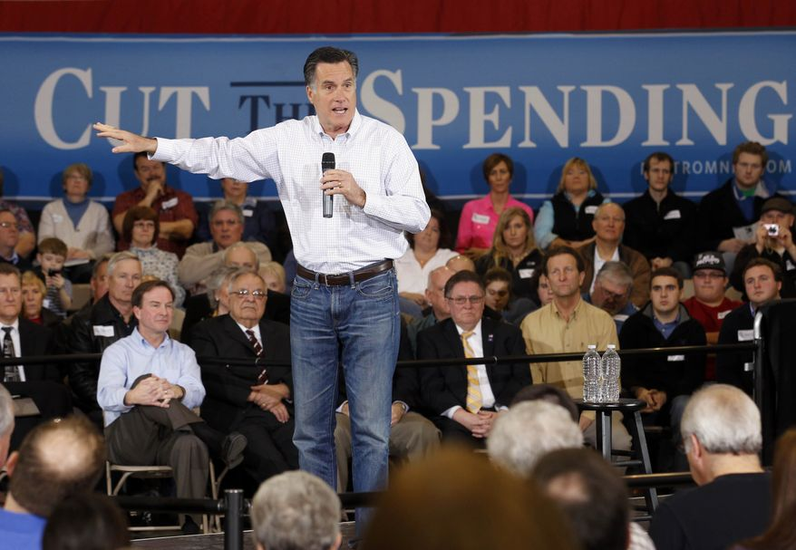 Former Massachusetts Gov. Mitt Romney speaks at a town hall meeting at Eagle Manufacturing Corp. in Shelby Township, Mich., Tuesday, Feb. 21, 2012. (AP Photo/Gerald Herbert)