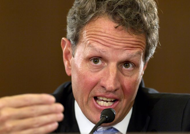 **FILE** Treasury Secretary Timothy F. Geithner testifies Feb. 16, 2012, on Capitol Hill before the House Budget Committee hearing on President Obama's fiscal 2013 federal budget. (Associated Press)