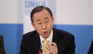 U.N. Secretary-General Ban Ki-moon addresses the London Conference on Somalia at Lancaster House in London on Thursday, Feb. 23, 2012. (AP Photo/Matt Dunham, Pool)