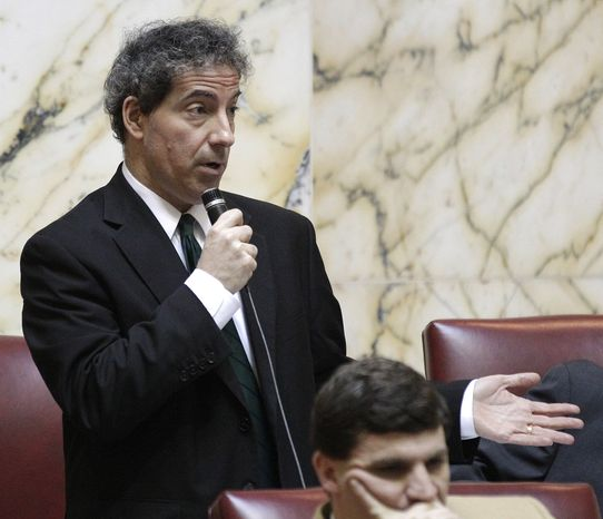Sen. Jamie Raskin, Montgomery Democrat, speaks during a debate on possible amendments to a gay marriage bill in Annapolis, Md., Thursday, Feb. 23, 2012. Senate approved the bill Thursday. (AP Photo/Patrick Semansky)