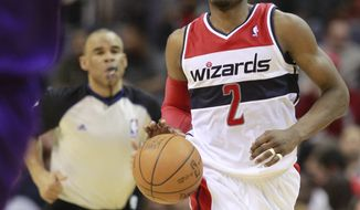 Washington Wizards point guard John Wall is only part of the Rising Stars Challenge but hopes to be in the All-Star game in the near future. (AP Photo/Haraz N. Ghanbari)
