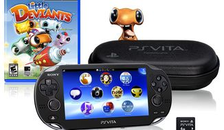 Sony's PS (PlayStation) Vita bundle includes the game Little Deviants, a case and 4 GB memory card.