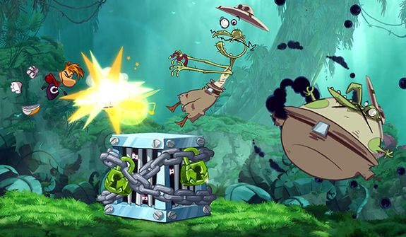 A screen from the game Rayman Origins, available for Sony's PS Vita.