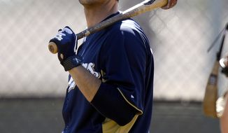 Milwaukee Brewers outfielder Ryan Braun waits his turn to take batting practice during spring training Saturday, Feb. 25, 2012, in Phoenix. (AP Photo/Paul Connors)
