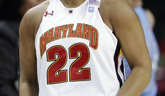 Maryland senior guard Kim Rodgers reacts after scoring a 3-pointer in the first half against North Carolina in College Park, Md., on Friday, Feb. 24, 2012. Rogers had nine points in the 84-64 win. (AP Photo/Patrick Semansky)