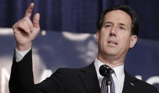 Former Pennsylvania Sen. Rick Santorum, who is running for the Republican presidential nomination, speaks during a campaign stop at the Knights of Columbus in Lincoln Park, Mich., on Friday, Feb. 24, 2012. (AP Photo/Eric Gay)