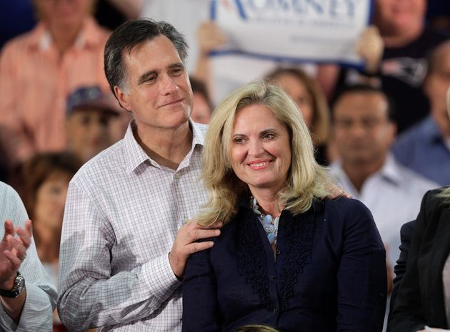 """""""Maybe I should just do all the talking and let him just stand here and watch me,"""" says Ann Romney of her husband, GOP candidate Mitt Romney. (Associated Press)"""