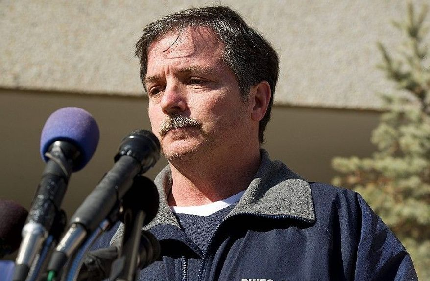 Vann Sorrell, of Buies Creek, N.C., the father of Bladensburg volunteer firefighter Ethan Sorrell, who was injured in a house fire in Riverdale on Friday, gathers his thoughts as he speaks to the media at Sunday at Washington Hospital Center. (Barbara L. Salisbury/The Washington Times)