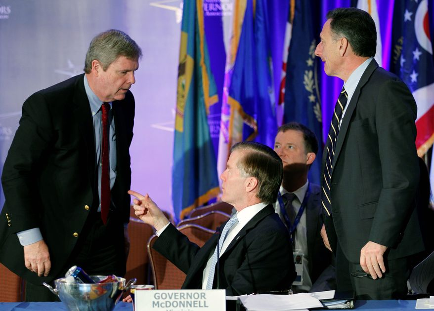 Gov. Bob McDonnell, Virginia Republican, and Gov. Peter Shumlin, Vermont Democrat, (right) speak with U.S. Secretary of Agriculture Thomas J. Vilsack during a panel discussion at the National Governors Association meeting in Washington on Sunday. (Associated Press)