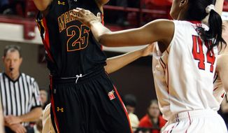 Maryland's Alyssa Thomas (25) shoots the ball over North Carolina State's Kody Burke during the second half of an NCAA basketball game in Raleigh, N.C., Sunday, Feb. 26, 2012. Maryland won 65-50. (AP Photo/Karl B DeBlaker)
