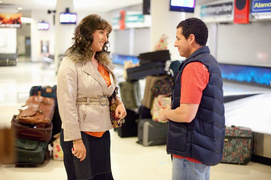 """Adam Sandler, who portrays a family man and his own twin sister in """"Jack & Jill,"""" shattered a record by amassing 11 nominations for the Razzies. (Sony Pictures via Associated Press)"""