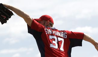 Washington Nationals pitcher Stephen Strasburg throws during the team's first official workout for pitchers and catchers at spring training baseball, Tuesday, Feb. 21, 2012, in Viera, Fla. (AP Photo/Julio Cortez)