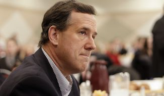 Republican presidential candidate and former Pennsylvania Sen. Rick Santorum waits to speak Feb. 27, 2012, at the Livonia Chamber of Commerce breakfast in Livonia, Mich. (Associated Press)