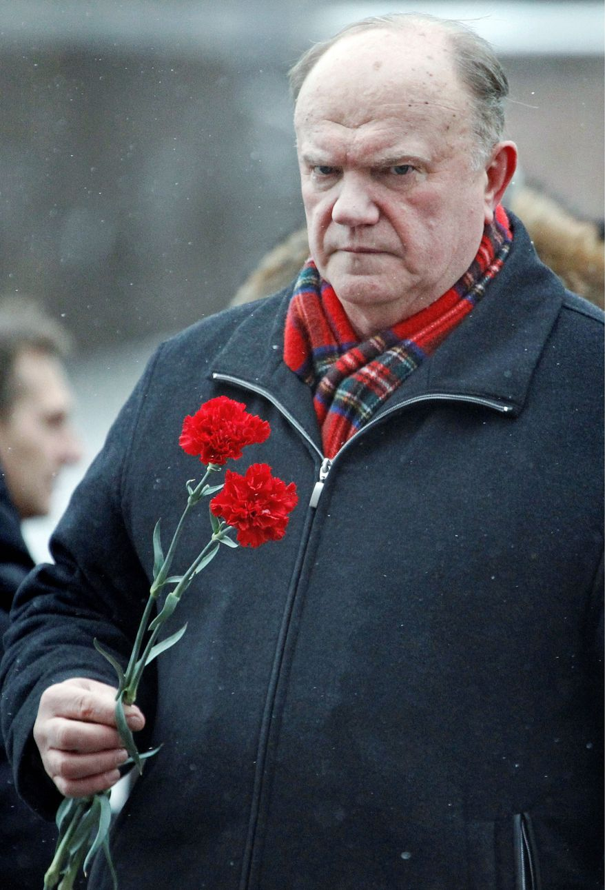 Gennedy Zyuganov, the Communist Party leader, is Vladimir Putin's closest rival in Sunday's presidential election. (Associated Press)