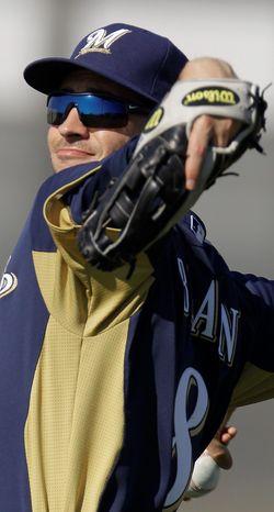 National League MVP Ryan Braun hit .332 with 33 home runs and 111 RBI last season. (Associated Press)