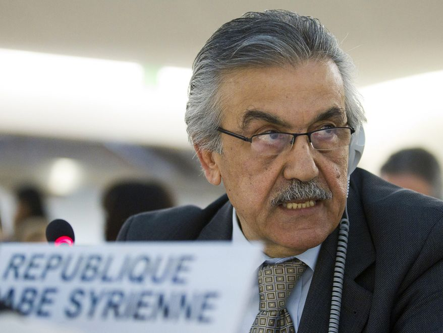 Fayssal al-Hamwi, Syria's ambassador to the United Nations in Geneva, delivers Feb. 28, 2012, his statement to the debate on Syria during the 19th session of the Human Rights Council at the European headquarters of the United Nations in Geneva. (Associated Press/Keystone)