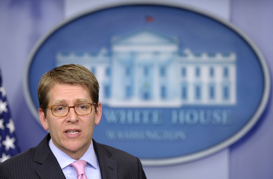 White House spokesman Jay Carney speaks Feb. 28, 2012, during the daily briefing at the White House. (Associated Press)