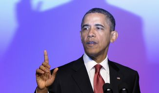 President Obama speaks Feb. 28, 2012, at the United Auto Workers conference in Washington. (Associated Press)