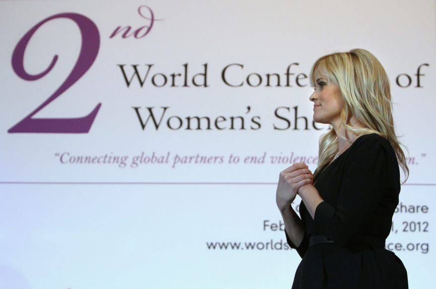 Actress Reese Witherspoon is a global ambassador for Avon's efforts to help victims of domestic violence, a commitment that brought her to the Washington area on behalf of women's shelters. (Associated Press)