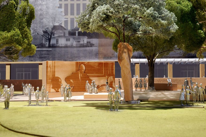 An artist's rendering shows part of the design for the planned Dwight D. Eisenhower memorial on the Mall, including an image of Eisenhower as president studying a globe. New images give more details about the memorial but have not quelled criticism. (Gehry Partners via Associated Press)