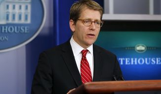 White House press secretary Jay Carney gives his daily news briefing at the White House in Washington on Wednesday, Feb. 29, 2012. (AP Photo/Pablo Martinez Monsivais)